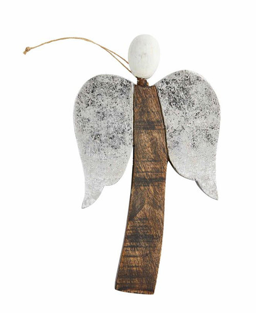 Silver Wooden Angel Ornament (46700126S)