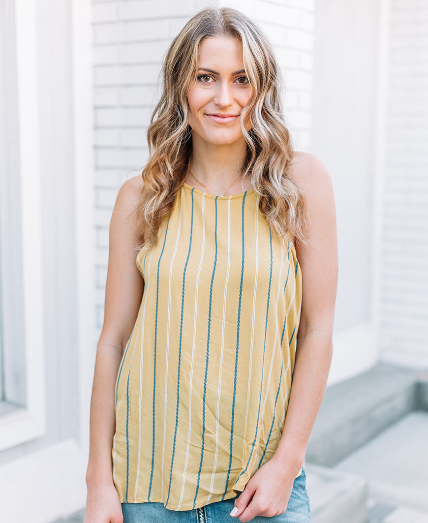 Mustard Striped High Neck Cami (T15801N)