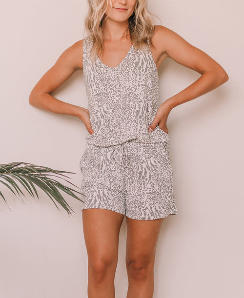 Gray Animal Print Lounge Shorts (WMT2110S)