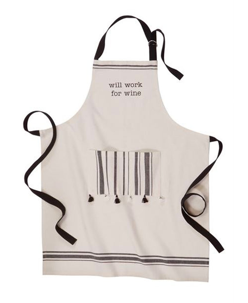 Will Work For Wine Apron (CURBSIDE PICK UP)