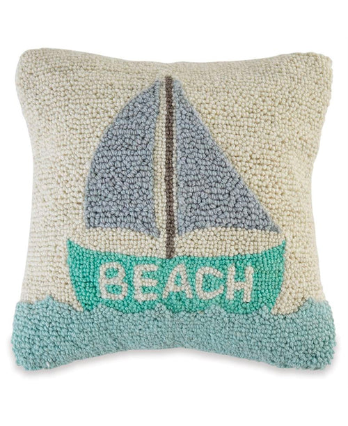 Sailboat Beach Hooked Pillow (CURBSIDE PICK UP)