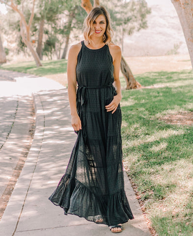 Green Embroidered Bottom Maxi Dress
