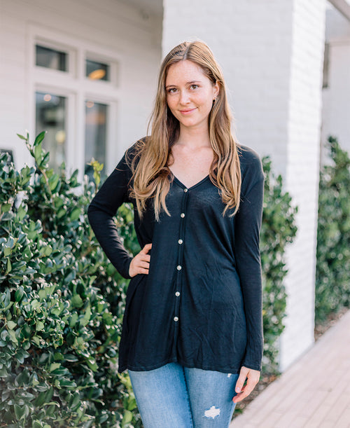 Black Ribbed Long Sleeve Button Down Top