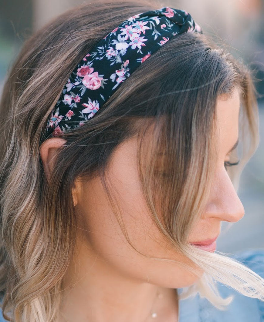 Black and Pink Floral Headband