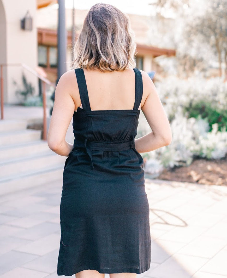 Black Front Button Midi Dress with Belt