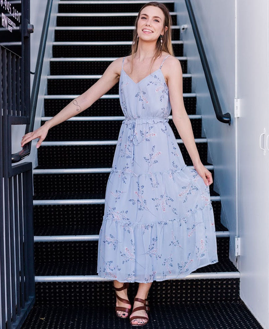 Sky Blue Floral Tier Maxi Dress