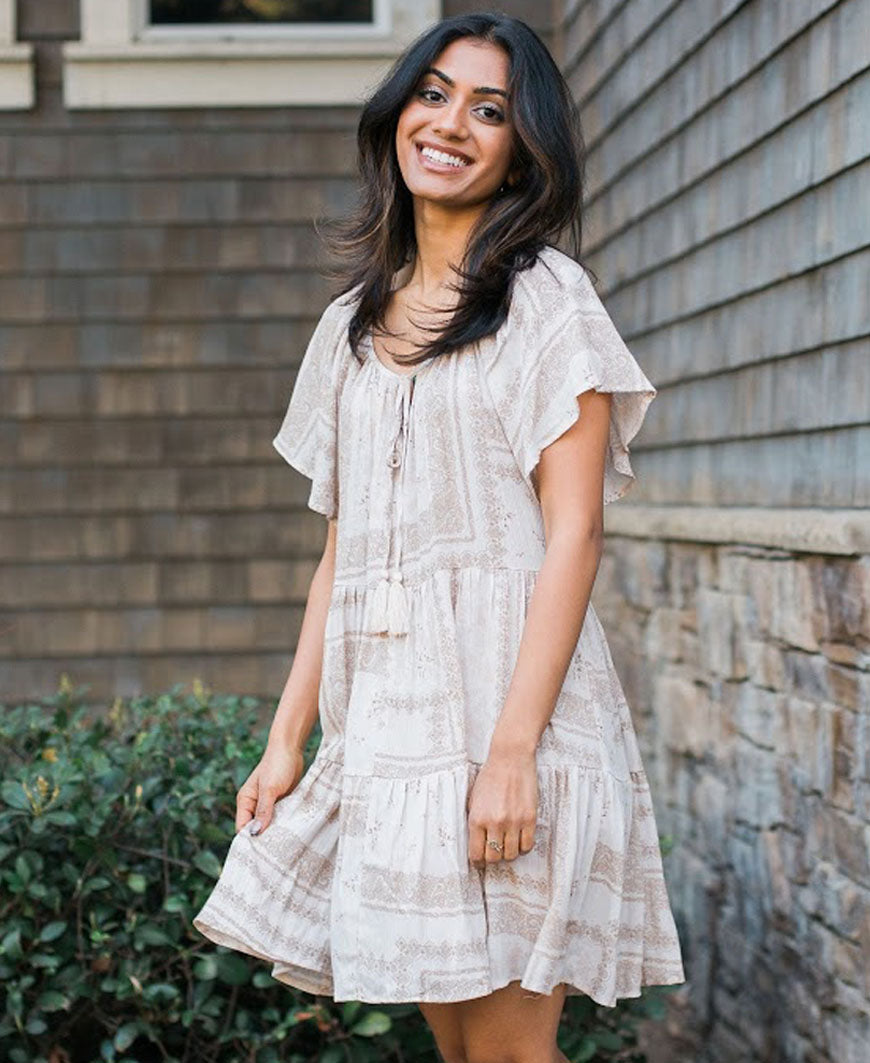 Neutral Boho Tassel Tier Dress