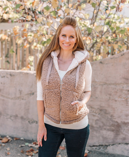 Mocha Fur Zip Up Vest
