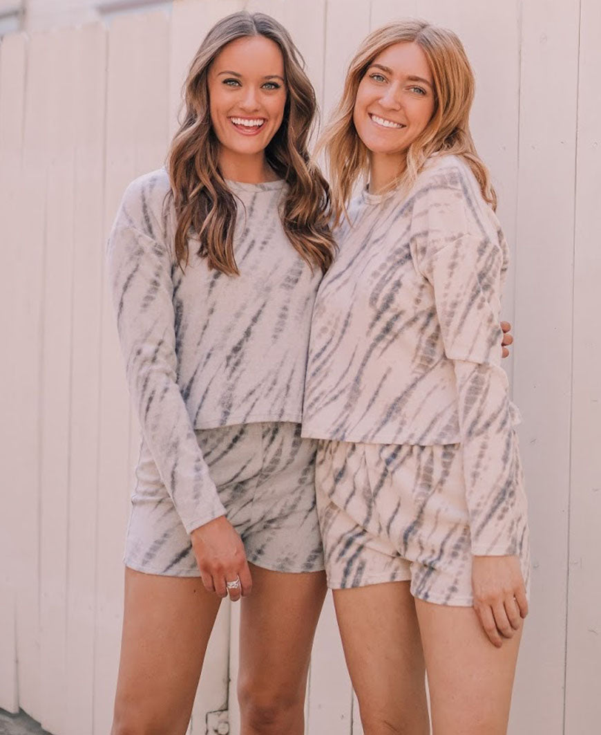 Grey Brush Tie Dye  Lounge Top