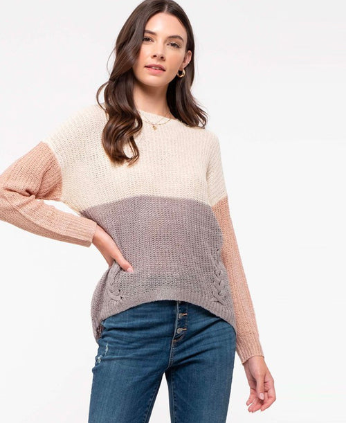 Colorblock Lace-Up Side Sweater (CA1818-INT)
