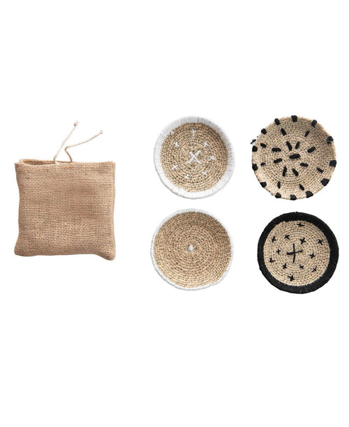 Black and White Seagrass Coasters
