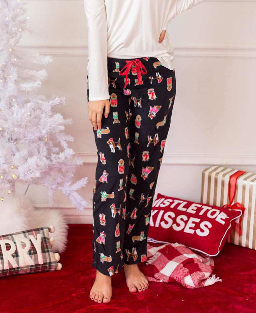 Christmas Dogs Fleece PJ Pants