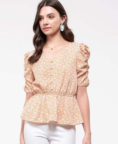Puff Sleeve Peach Floral Top (EM6175)