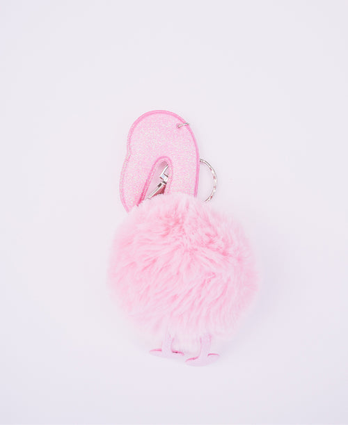 Blush Fuzzy Flamingo Keychain