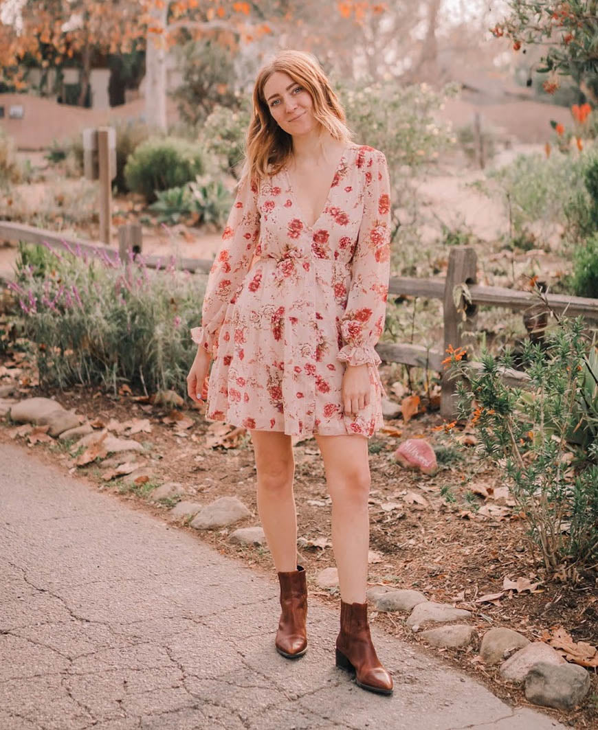 Floral Long Sleeve Button Dress
