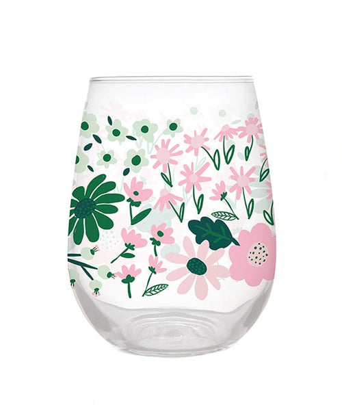 Floral Seamless Wine Glass