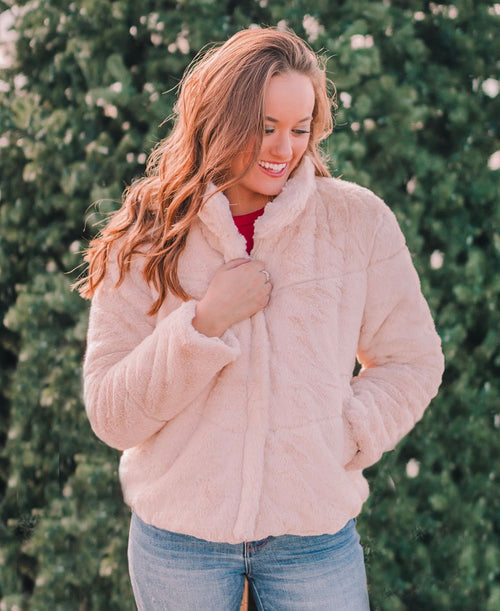 Cream Quilted Faux Fur Jacket (72967)