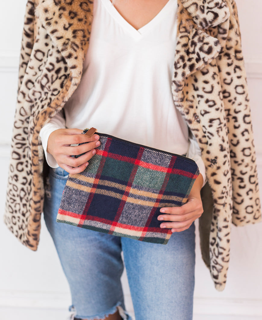 Navy Plaid Wristlet