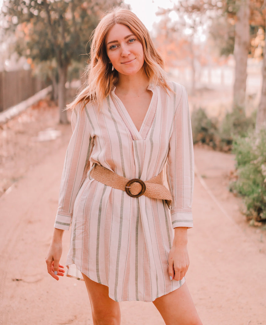 Tan Stripe Belted Dress
