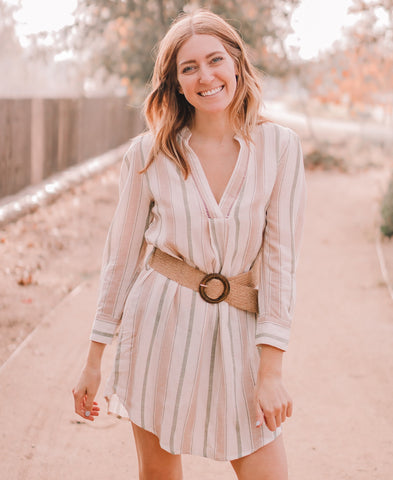 White Belted Shirt Dress
