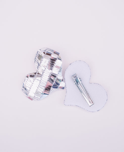 Silver Sequin Plush Heart Hair Clips