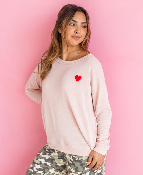 LONG SLEEVE HEART EMBROIDERED PULLOVER