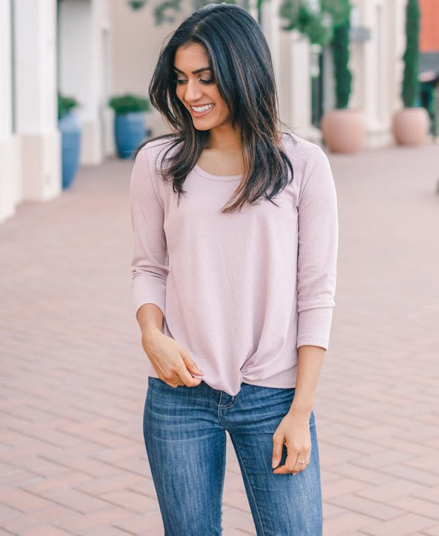 Mauve Front Knot Ribbed Top
