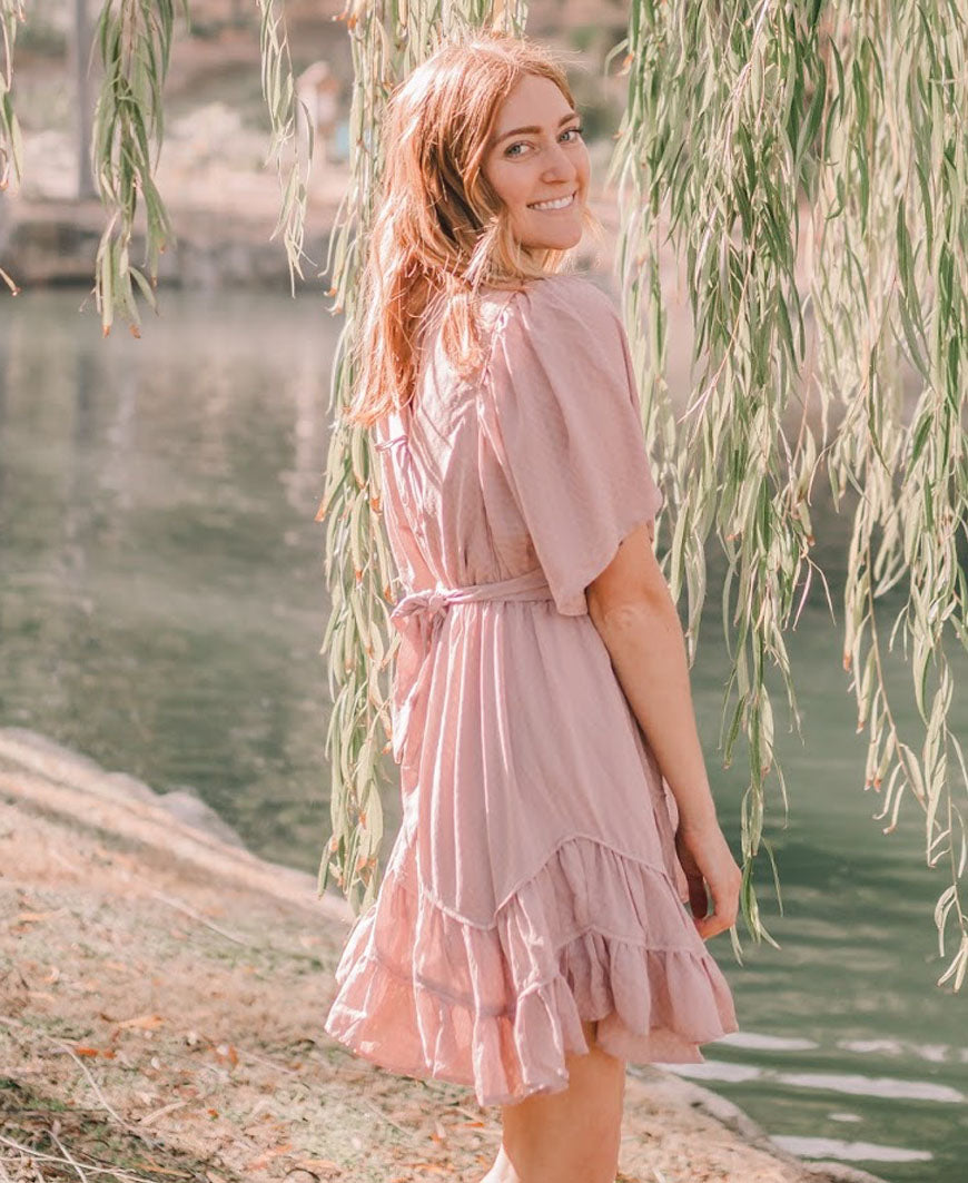 Mauve Ruffle Bottom Dress