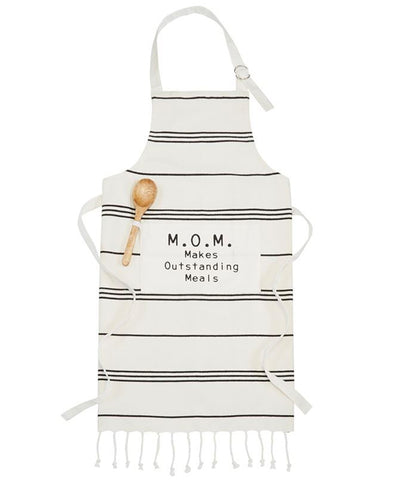 Black and Cream Striped Cotton Ruffle Apron (DA9751)