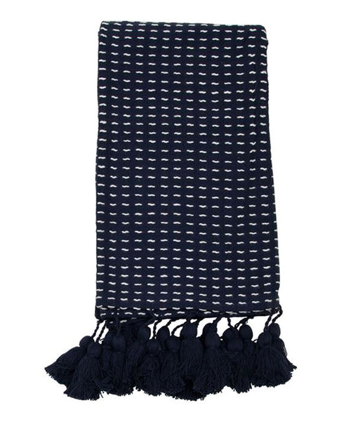 Navy Hand Woven Throw Blanket