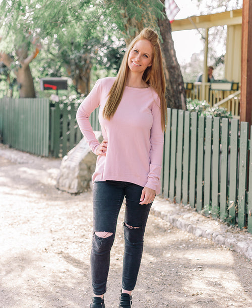 Button Back Blush Pullover
