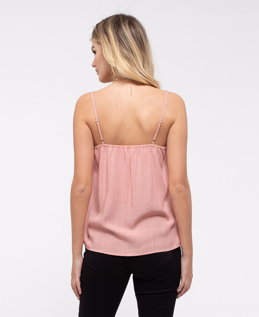 Pink Ruffle Detail Cami Top (CA1004)