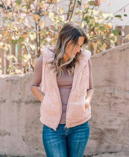 Blush Fur Zip Up Vest