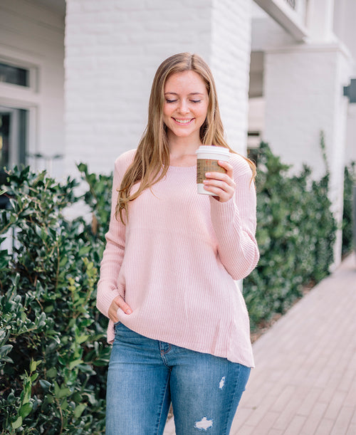 Blush Long Sleeve Open Back Sweater Top (6603)