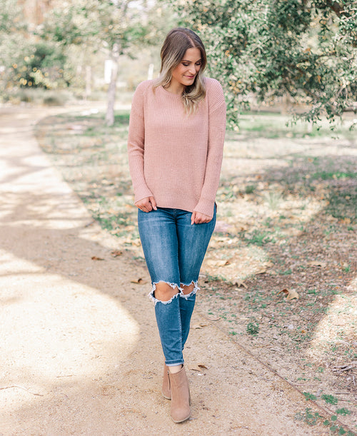 Blush Pink Crewneck Sweater