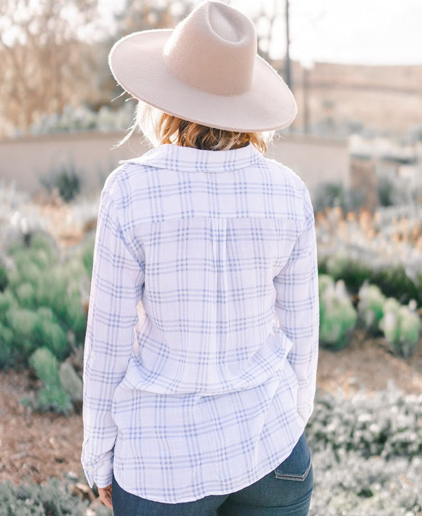 Light Blue and White Plaid Button Up