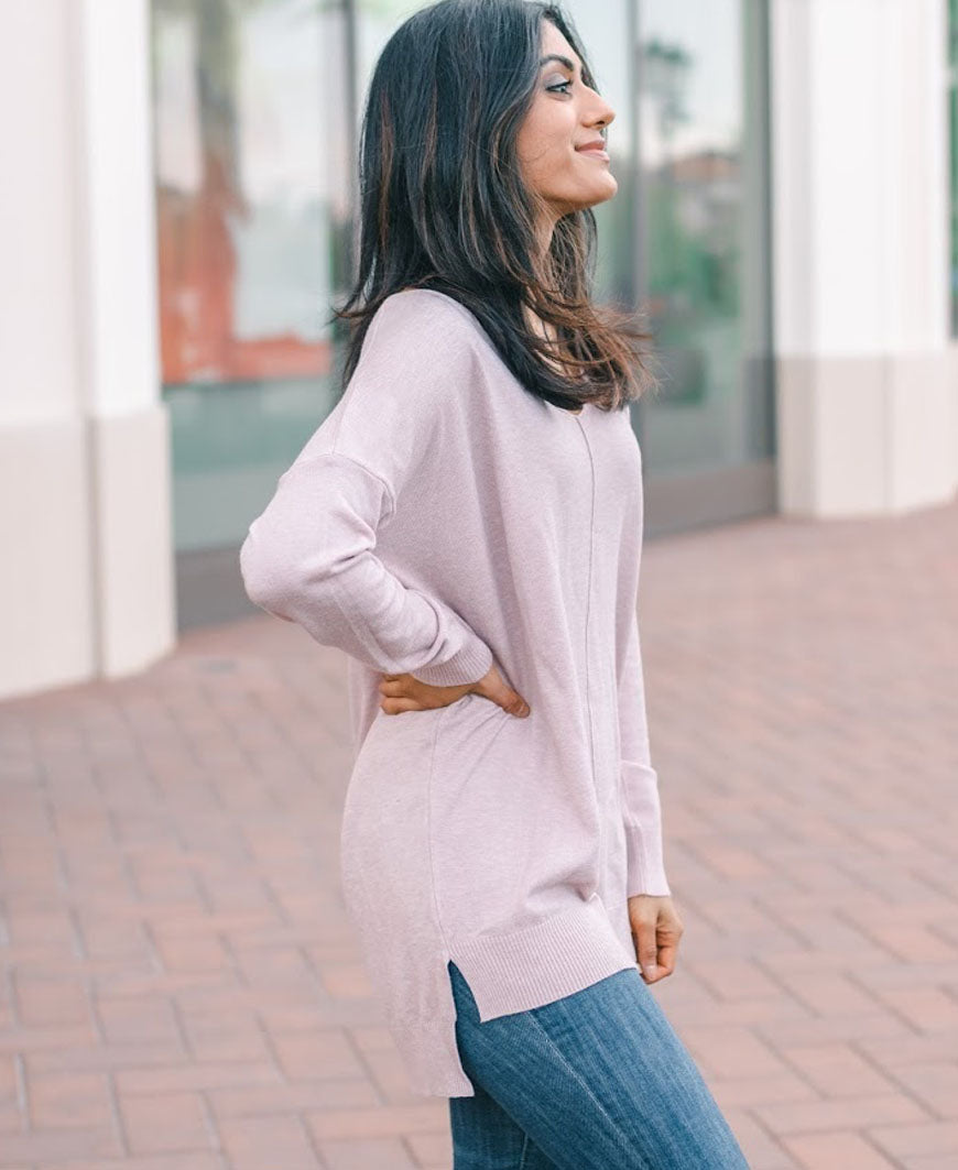 Heather Peony Long Sleeve Tunic Top