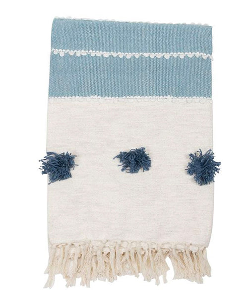 Blue Hues Pom Pom Throw Blanket