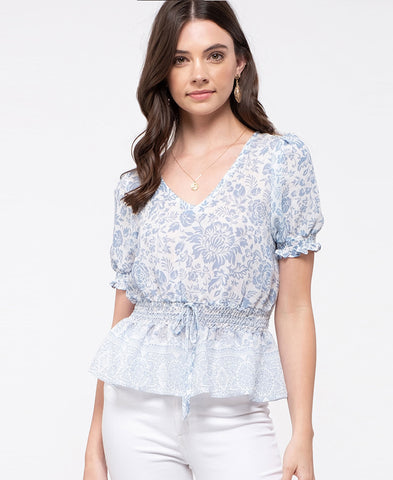 White Surplice Crochet Blouse (17382)