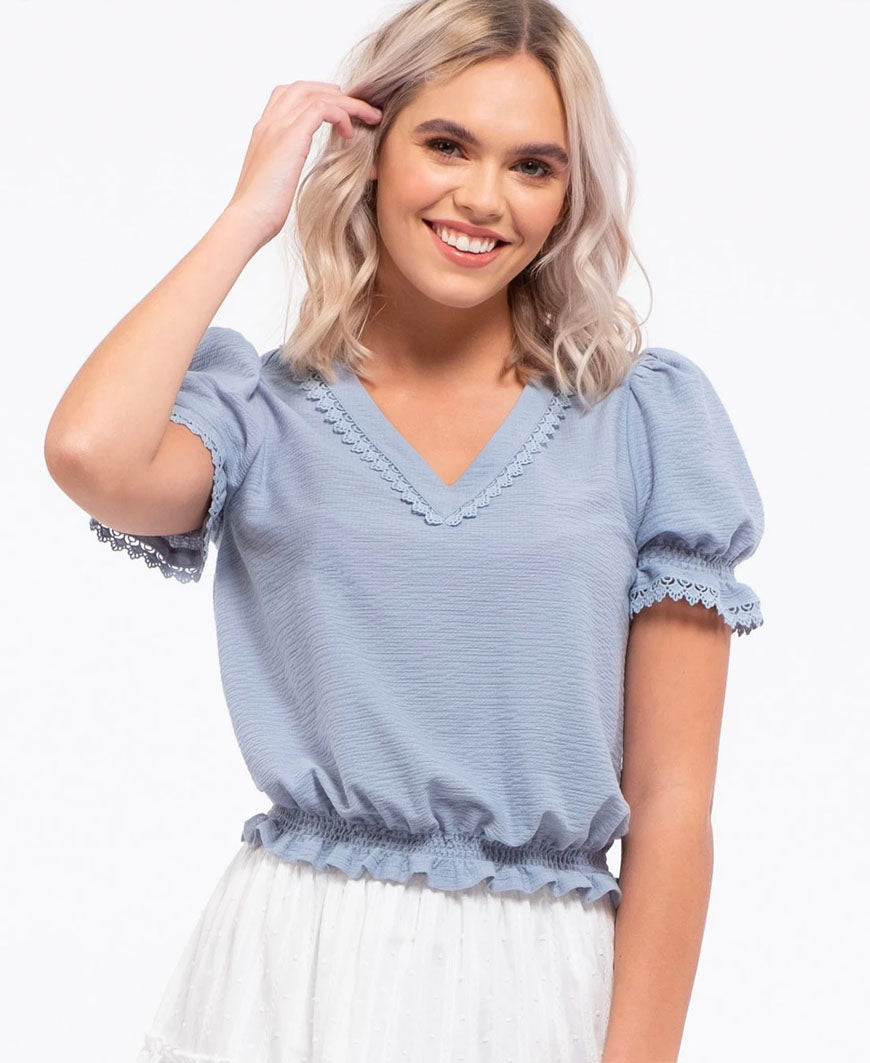 Dusty Blue Puff Sleeve Blouse