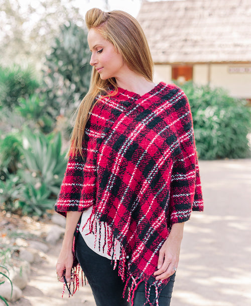 Red Plaid Poncho with Fringe