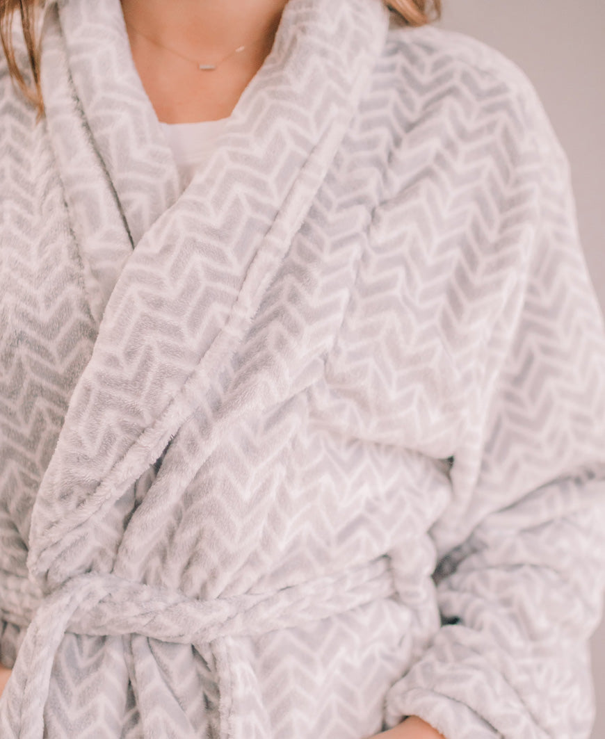 Grey Geometric Velvet Robe