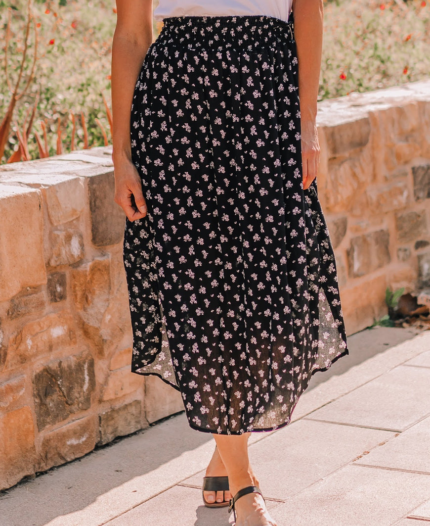 "Black Floral ""Kayla"" Midi Pocket Skirt"
