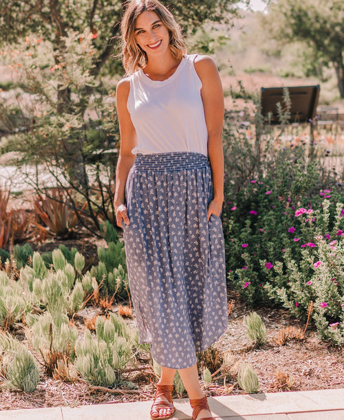 "Medium Blue Ditsy ""Kayla"" Midi Pocket Skirt"