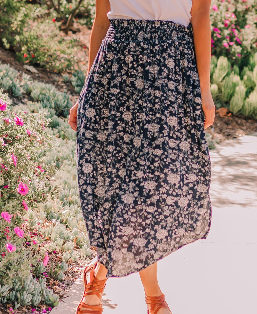 "Navy Floral ""Kayla"" Midi Pocket Skirt"