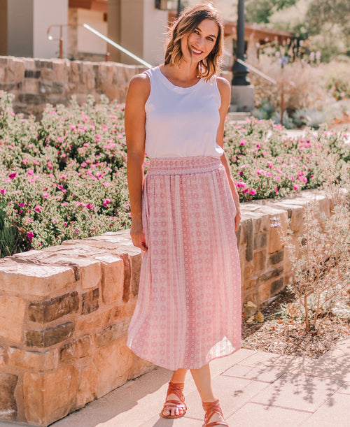 "Pink Mosaic ""Kayla"" Midi Pocket Skirt"
