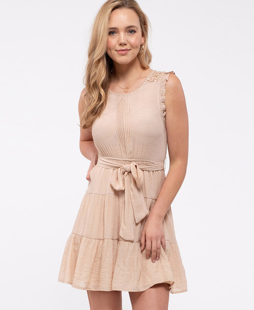 Tan Scoop Neck Sleeveless Mini Dress (EM6098NVS)