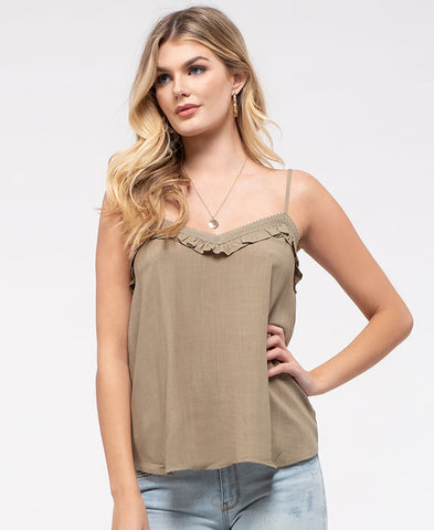 Rust Printed Button Front Tank (I-11390W)