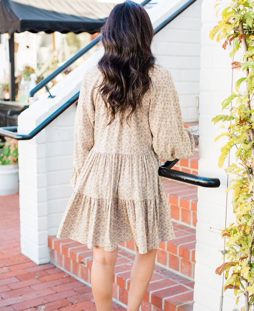 Tan Floral 'Madlyn' Long Sleeve Tier Dress