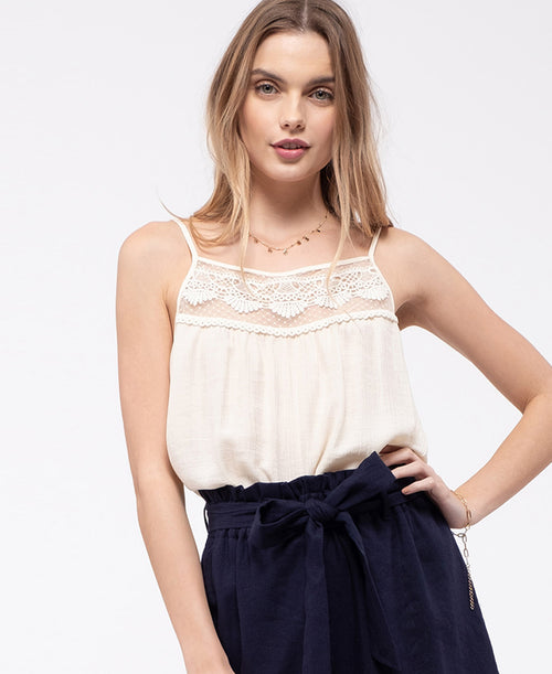 Cream Lace Top Cami (EM5988)